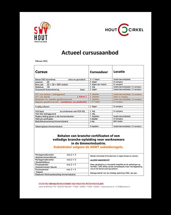 Curus aanbod SWV Hout en Houtcirkel